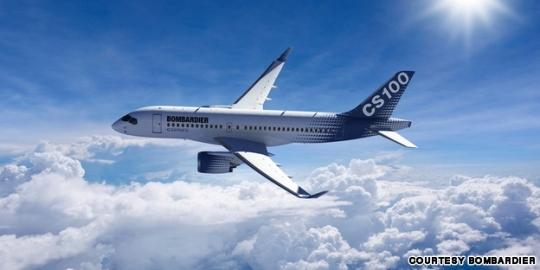 庞巴迪cs-100飞机预计2013年6月面世